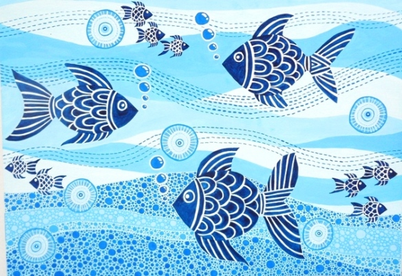 Blue Water Fish by Lolo Sianipar; Water Color on Paper; size: A3 (297mm × 420mm)