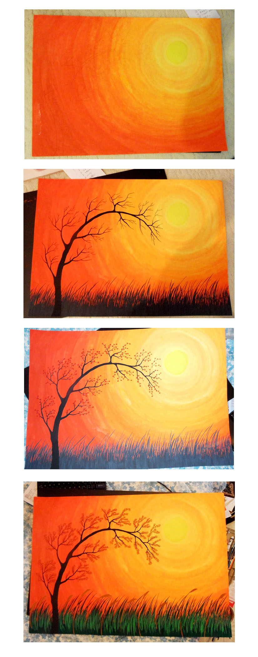 [Painting] On bigger paper size: Sunset in a Pasture | For ...
