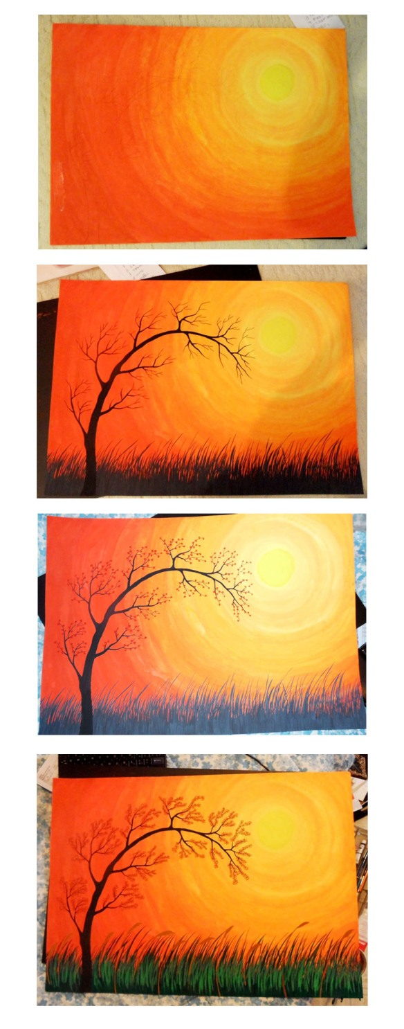 sunset in a pasteur step by step